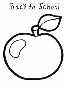 Back to school coloring pages apple 001