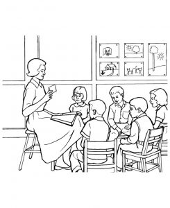 Back to school coloring pages classroom 001
