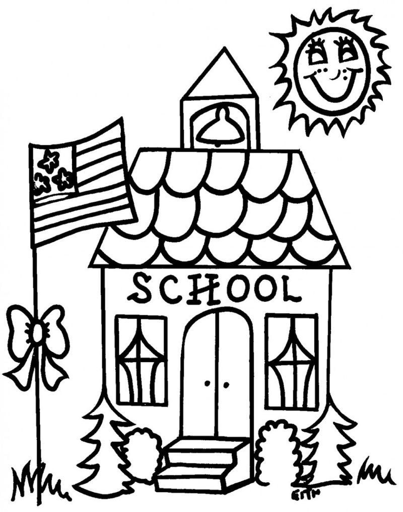 Back To School Coloring Pages Schoolhouse 001