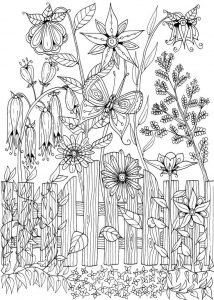 Backyard flowers adult coloring page
