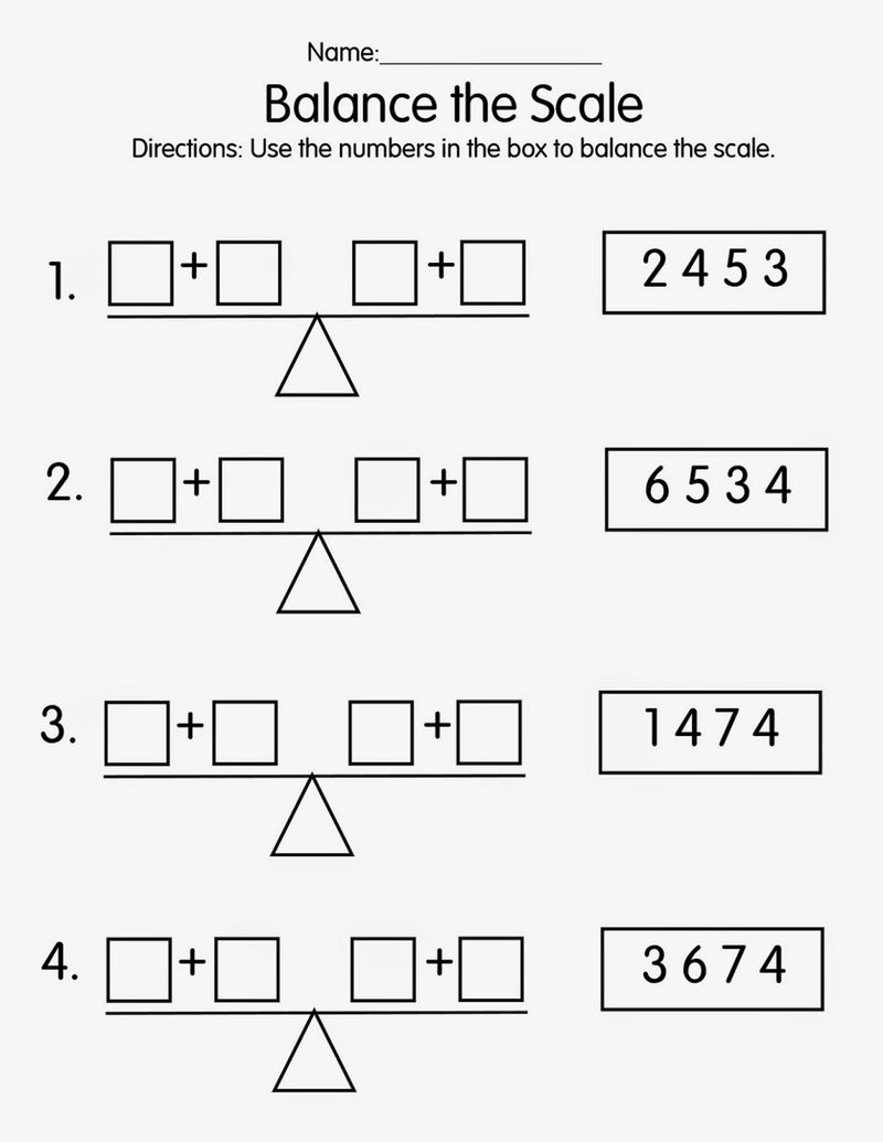 Balance Math Problems For First Grade