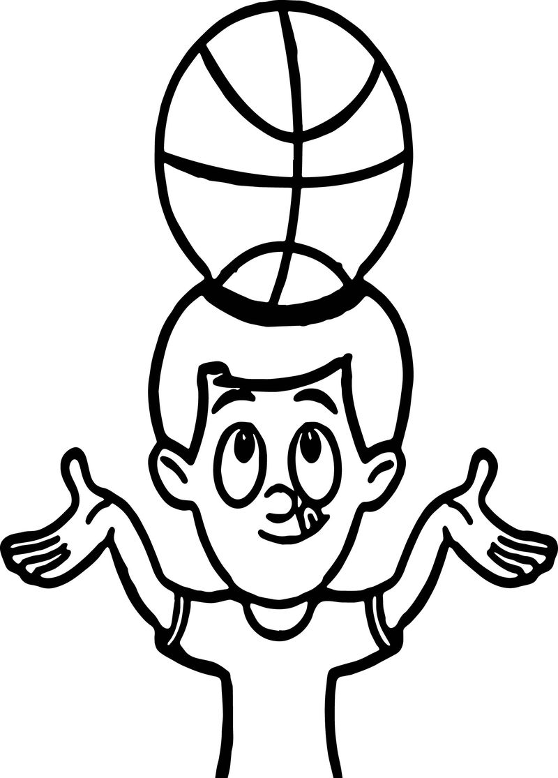 Balancing Basket Ball On Head Playing Basketball Coloring Page