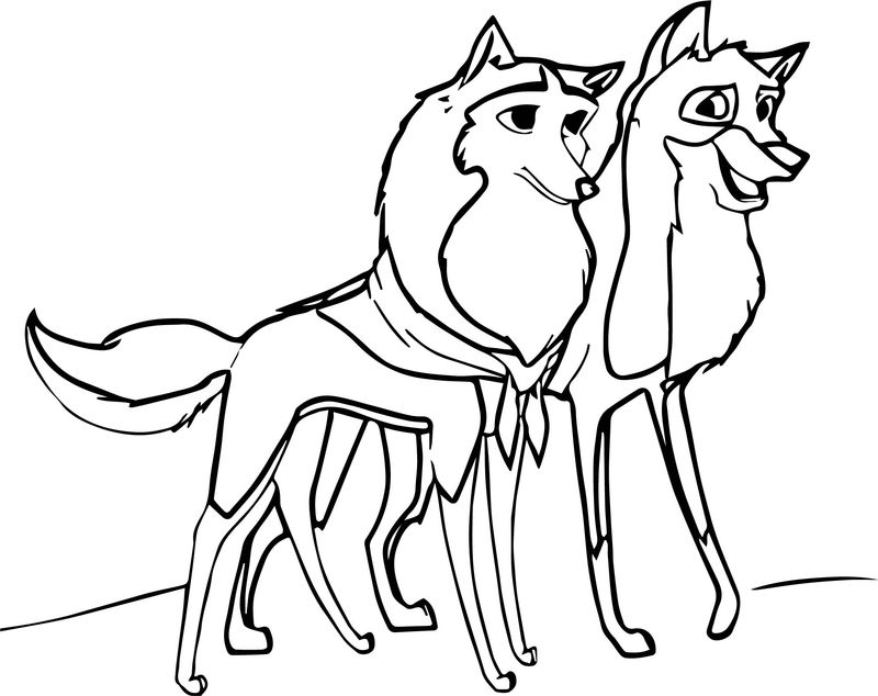 Balto And Jenna Together Wolf Coloring Page