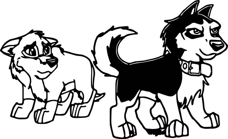 Balto And Steele As Pups Wolf Coloring Page