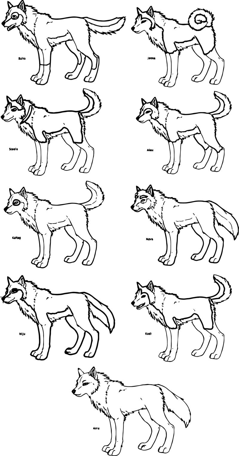 Balto Wolf Style Coloring Page