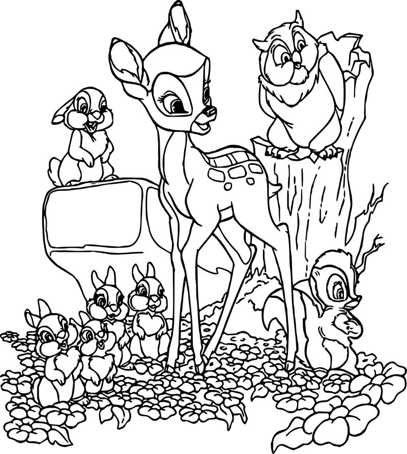 Bambi Group Family Coloring Pages