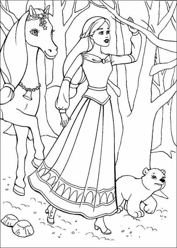 Barbie And Horse Coloring Online