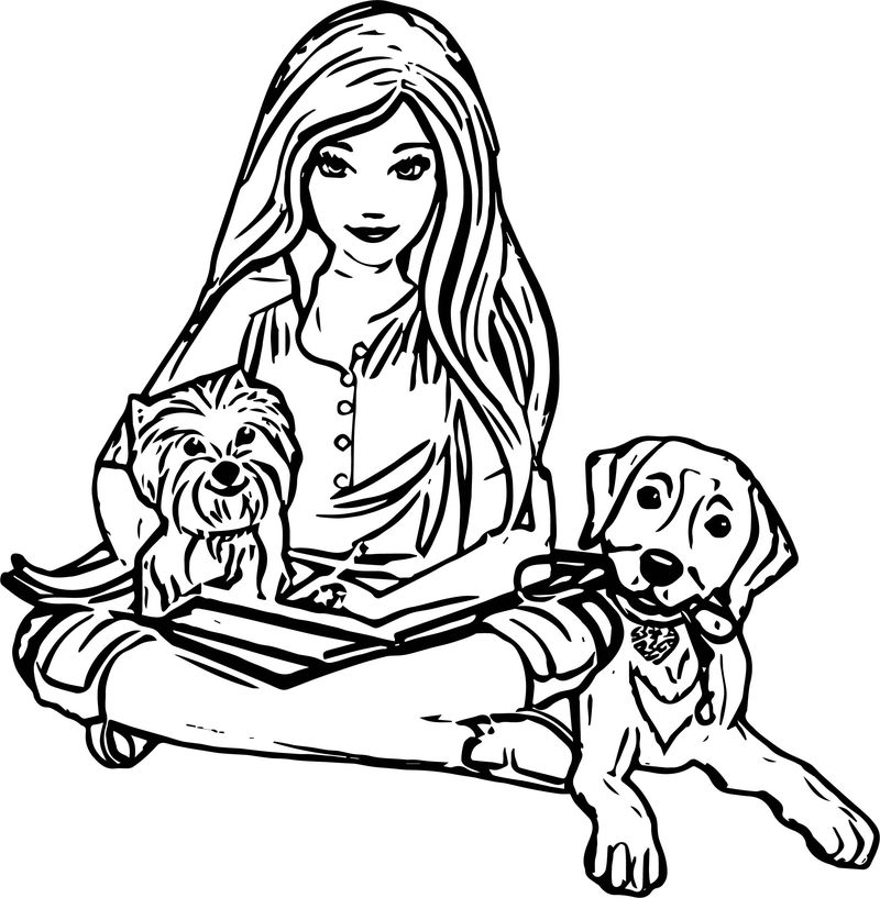 Barbie Dogs Coloring Page