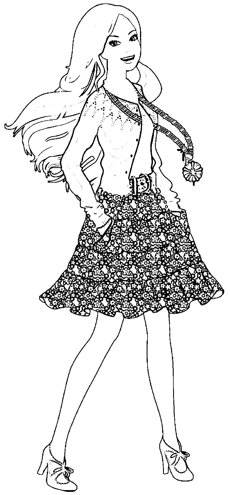 Barbie Happy Coloring Page