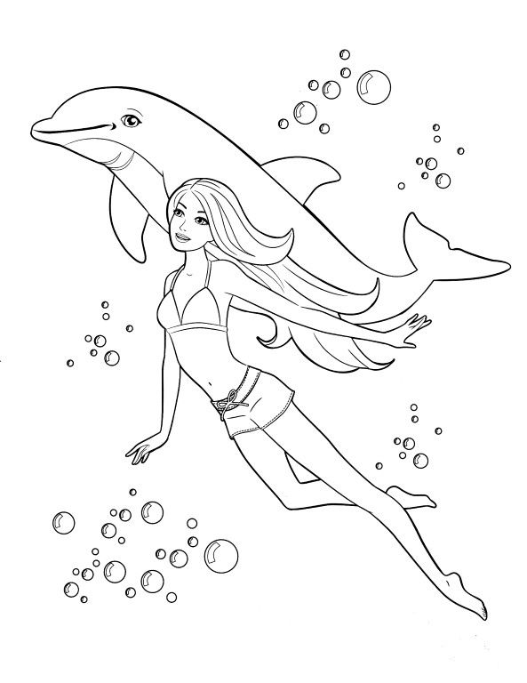 Barbie Mermaid And Dolphin Coloring Page 1