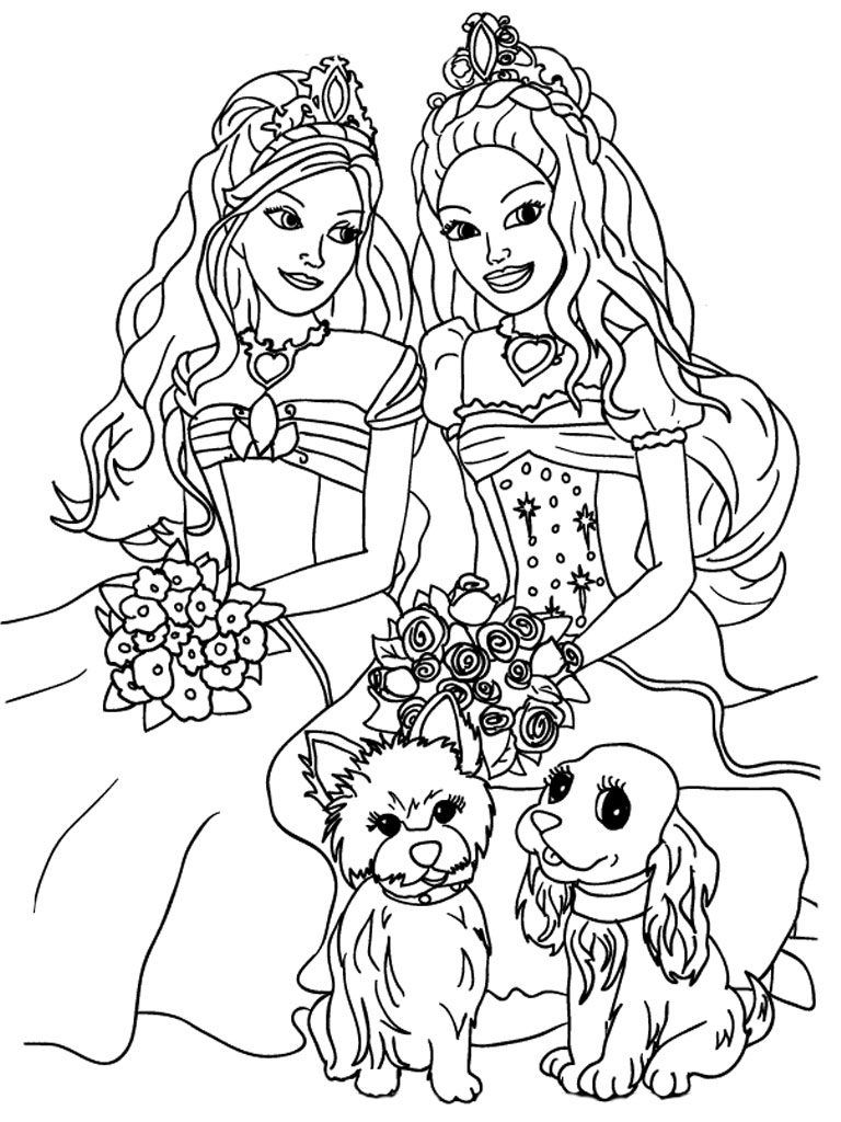 Barbie Princess Coloring Pages Dogs