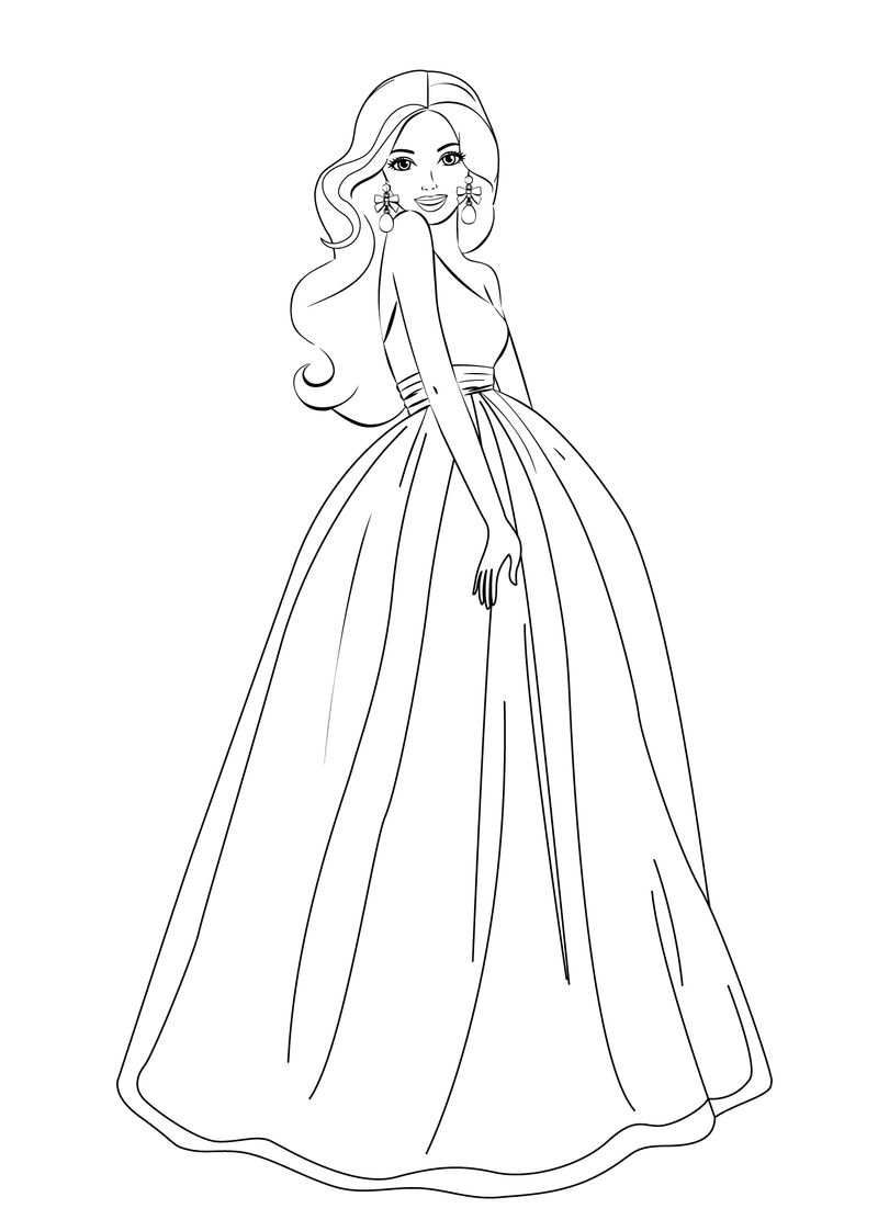 Barbie Princess Gown Coloring Page 1