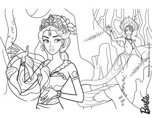 Barbie princess mermaid coloring page