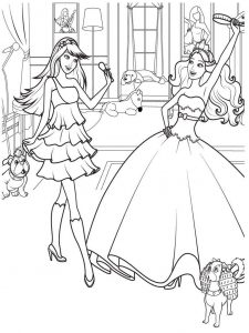 Barbie princess scene coloring page