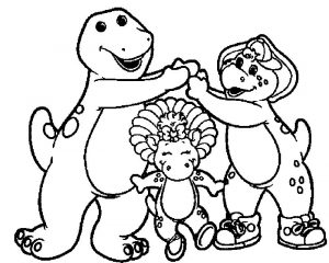 Barney and friends cartoon best friends coloring page