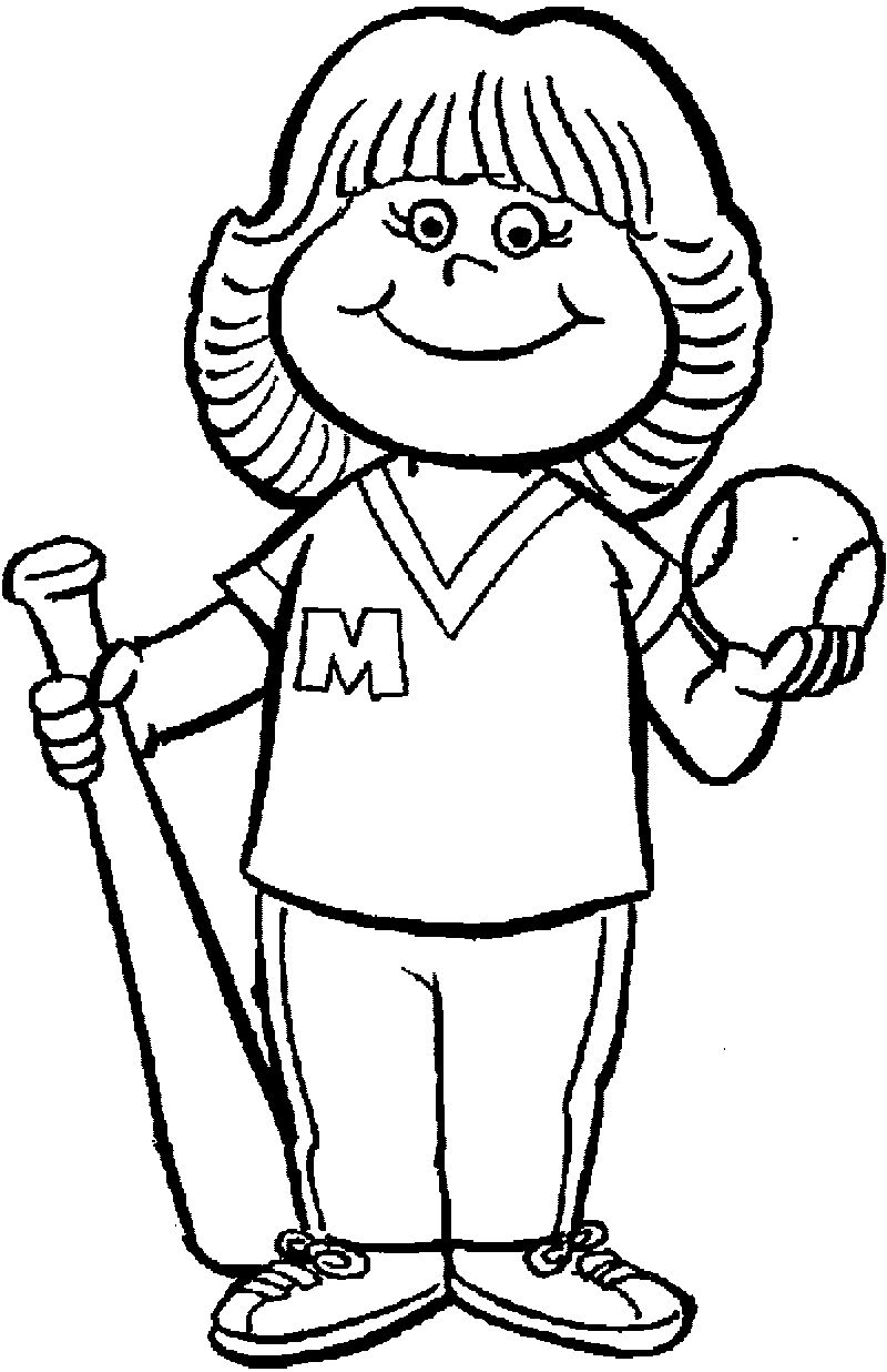 Baseball Girl For Kids Coloring Page
