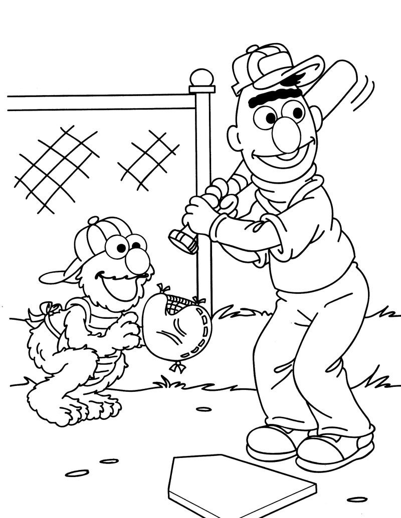 Baseball Sesame Street Coloring Pages