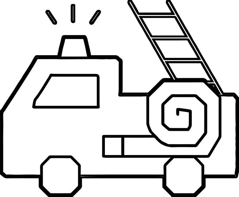 Basic Fire Truck Stair Coloring Page