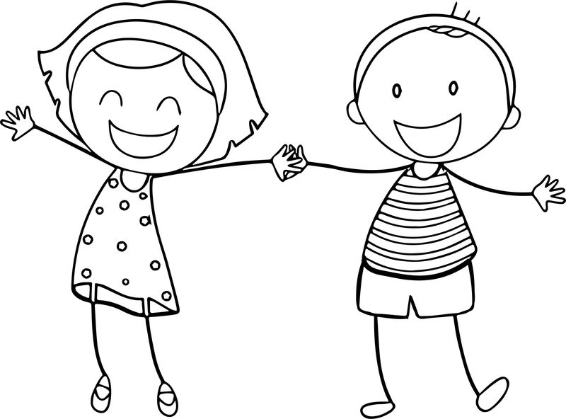 Basic Funny Boy Girl Coloring Sheet Printable Free Pages