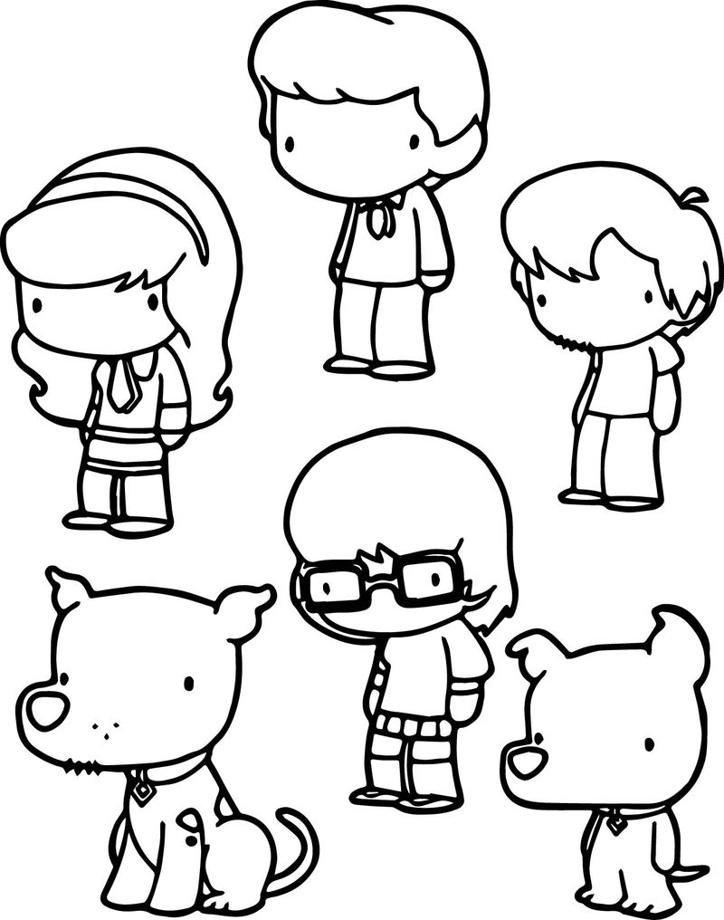Basic Scooby Doo Chibi Characters Coloring Pages