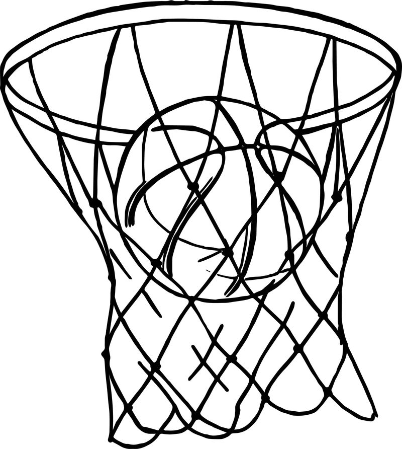 Basket Playing Basketball Coloring Page