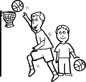 Basketball activity coloring page