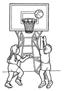 Basketball color pages children