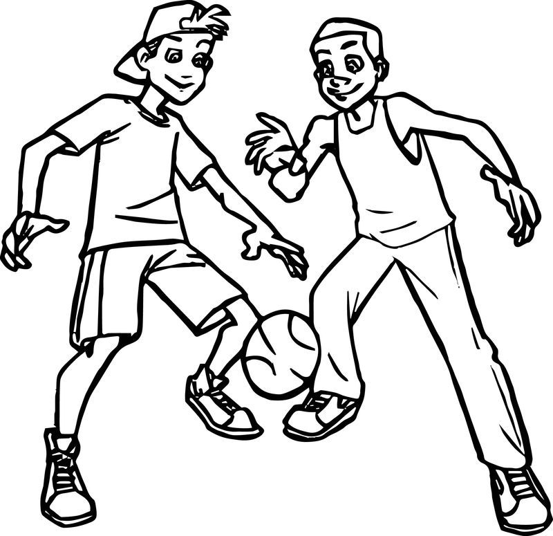 Basketball Players For Kids Coloring Page