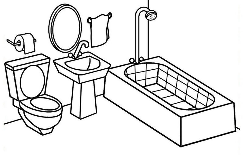 Bathroom Coloring And Activity Sheet