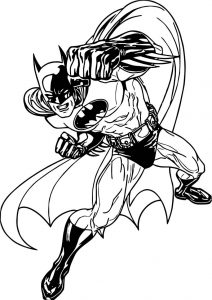 Batman fast punch coloring page