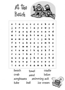 Beach word search printable