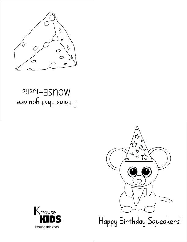 Beanie Boo Foldable Birthday Card To Color