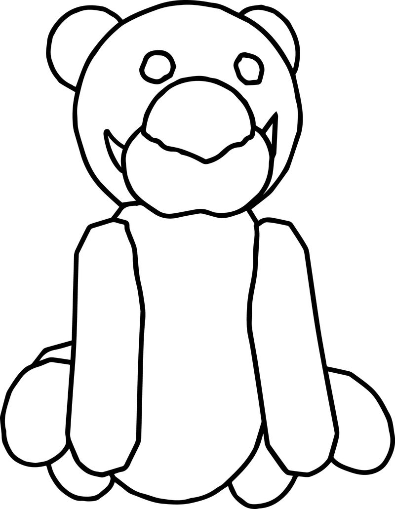Bear Cartoon Big Nose Coloring Page