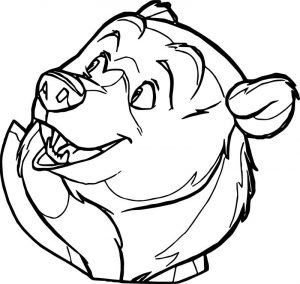 Bear face cartoon coloring page