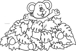 Bear fall coloring page