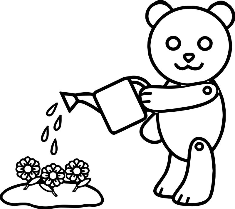 Bear Flower Water Coloring Page