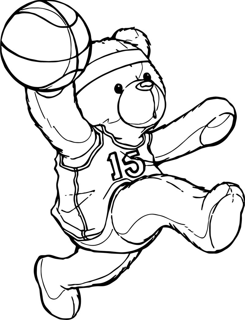 Bear Playing Basketball Coloring Page