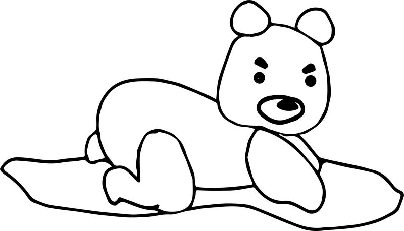 Bear Stretch Beach Angry Coloring Page