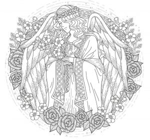 Beautiful angel coloring page for adults