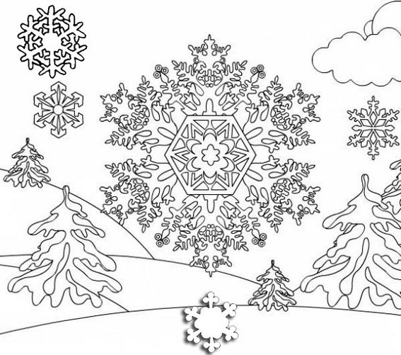 Beautiful Christmas Snowflakes On Mountain Landscape Coloring Page