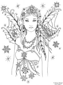 Beautiful fantasy fairy coloring page