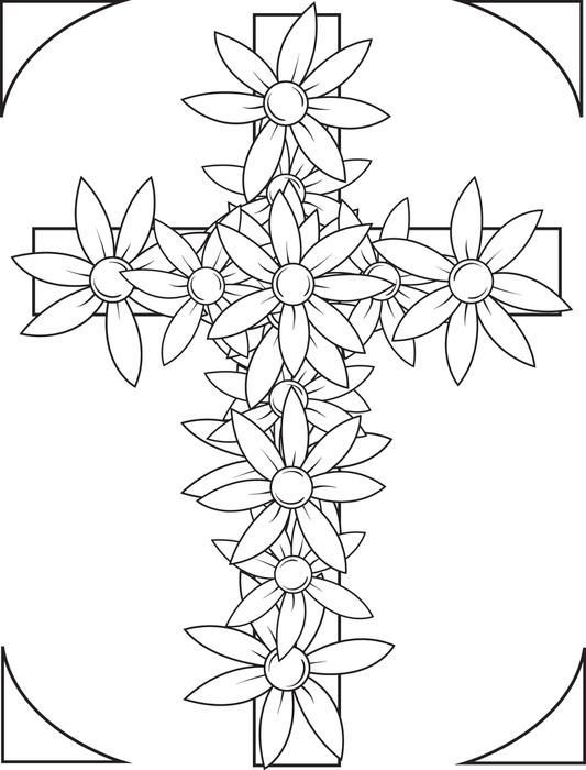 Beautiful Flowers Cross Coloring Page