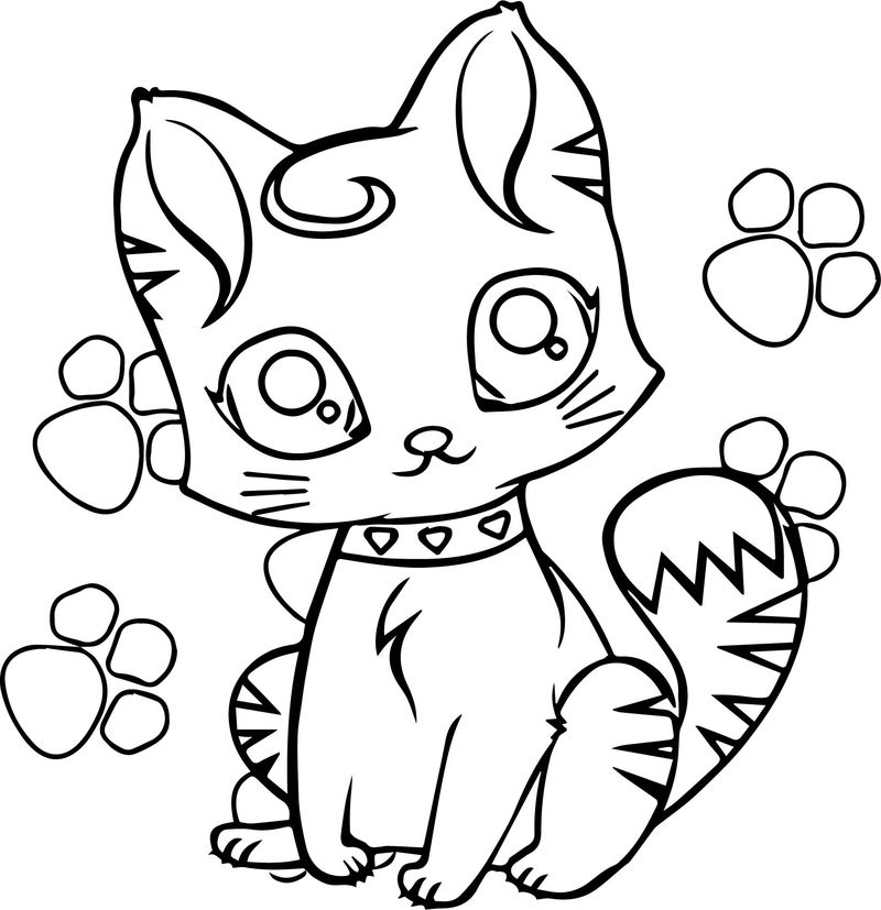 Beautiful Girl Cat And Cat Footprint Coloring Page