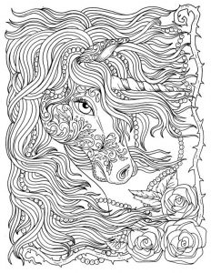 Beautiful unicorn coloring page for adults