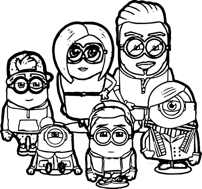 Beckham Family Minions Coloring Pages