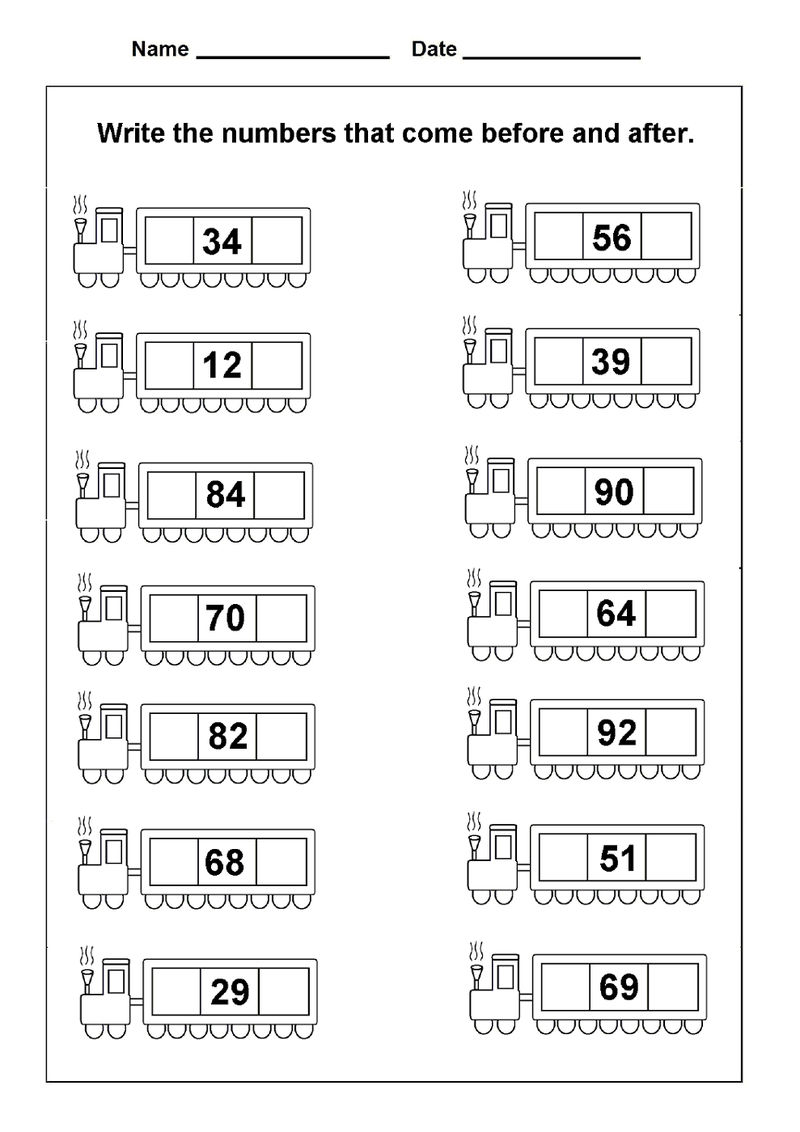 Before And After Number Worksheet Practice