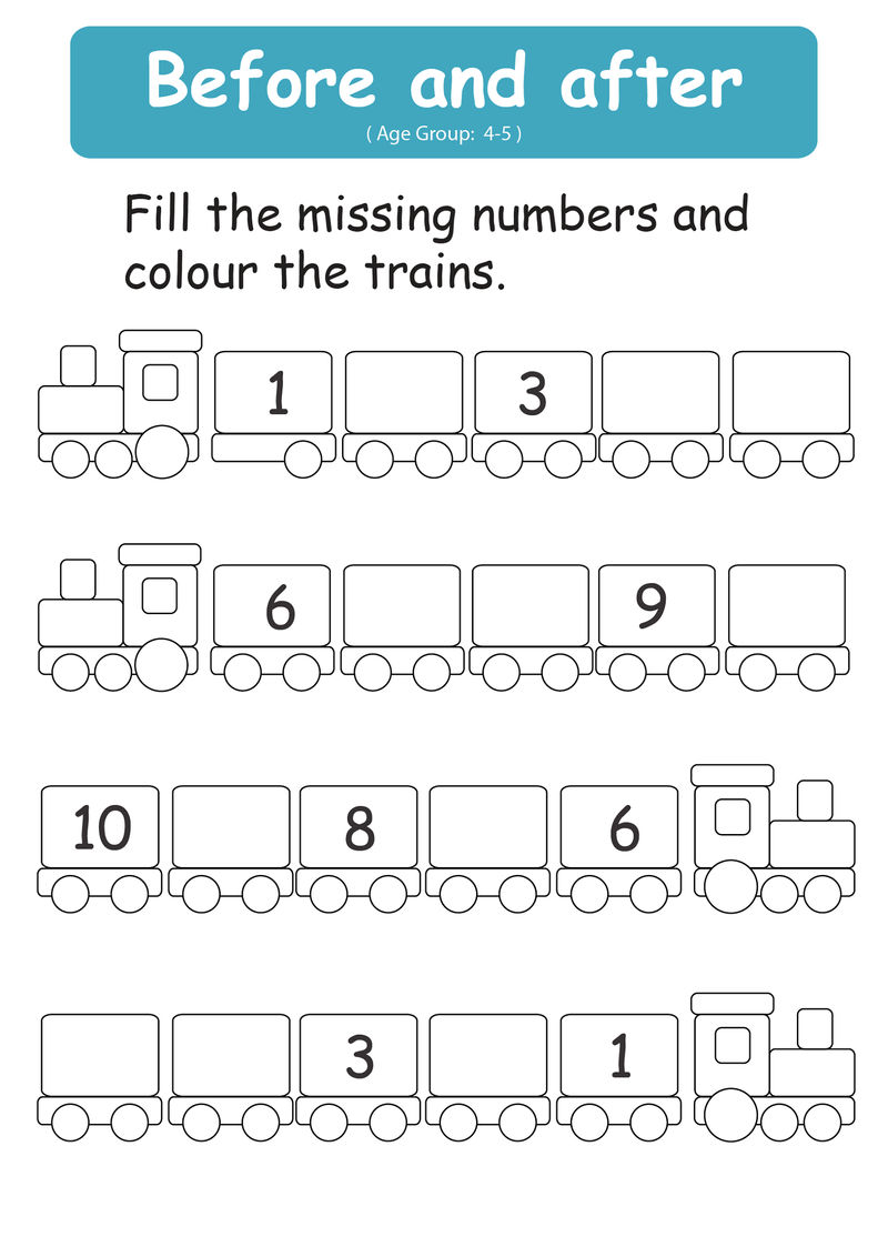 Before And After Number Worksheets Filling In