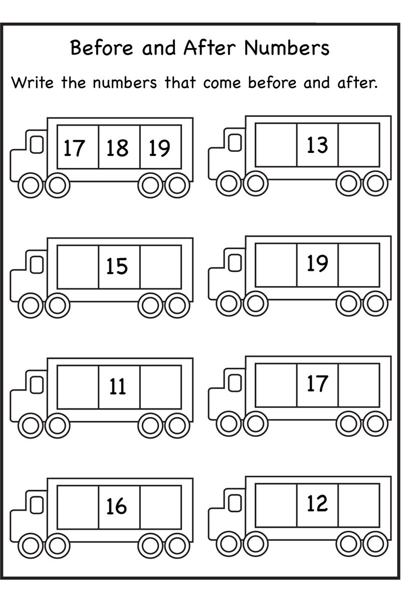 Before And After Number Worksheets For Math