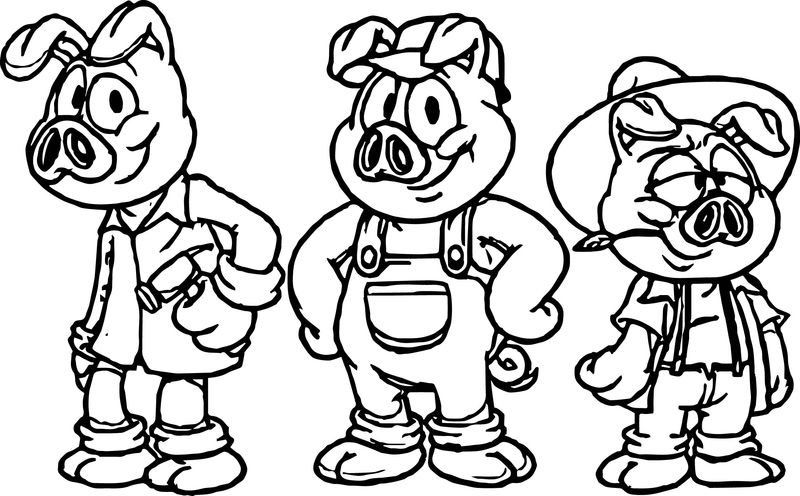 Best Cartoon 3 Little Pigs Coloring Page