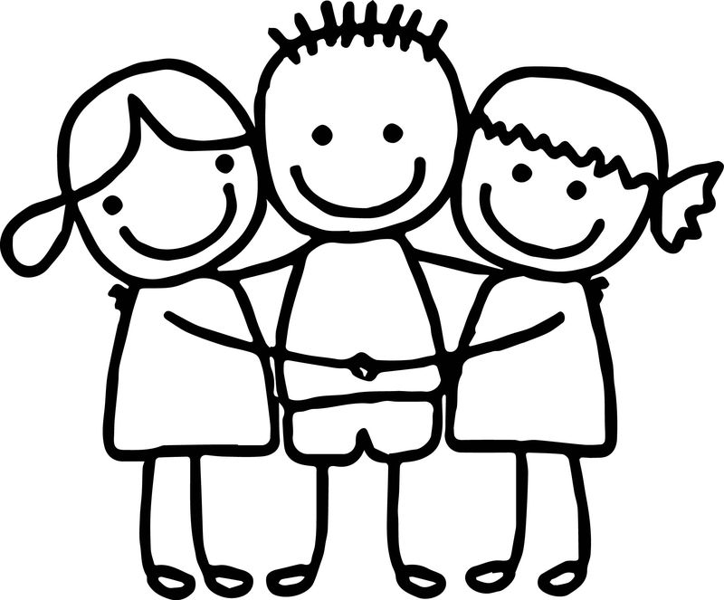 Best Friends Cute Girls Boy Hugging Coloring Page - Coloring ...